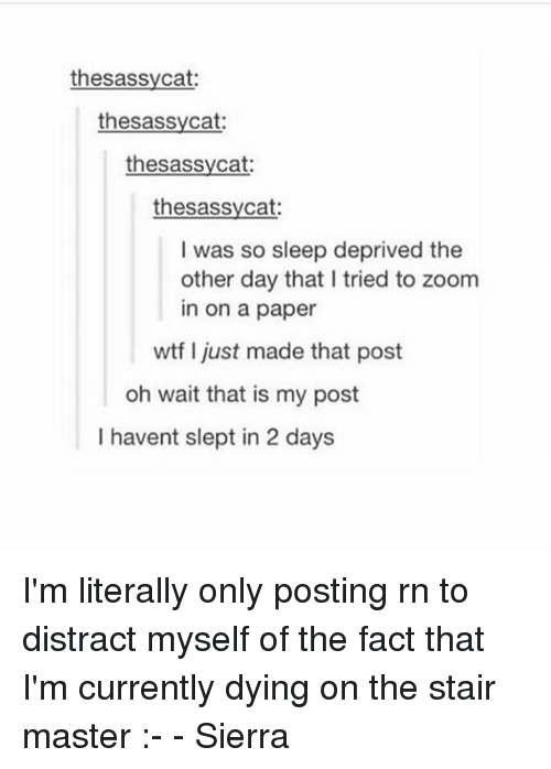 Memes, Wtf, and Zoom: thesassycat  thesassycat:  thesassycat  thesassycat:  I was so sleep deprived the  other day that I tried to zoom  in on a paper  wtf I just made that post  oh wait that is my post  I havent slept in 2 days I'm literally only posting rn to distract myself of the fact that I'm currently dying on the stair master :- - Sierra