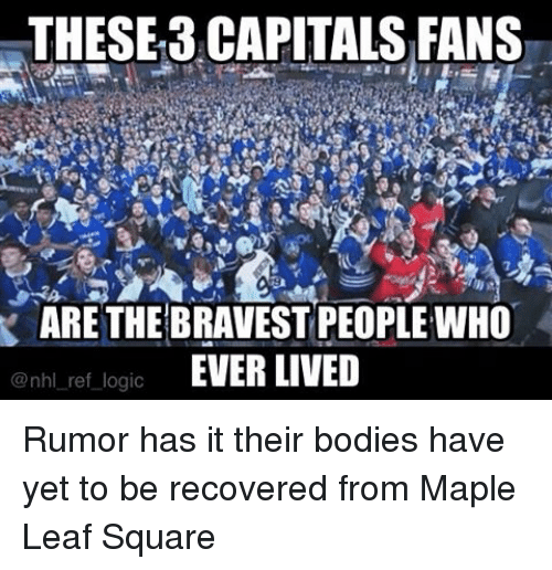 Bodies , Logic, and Memes: THESE 3 CAPITALS FANS  ARE THE BRAVEST PEOPLEWHO  EVER LIVED  @nhl ref logic Rumor has it their bodies have yet to be recovered from Maple Leaf Square