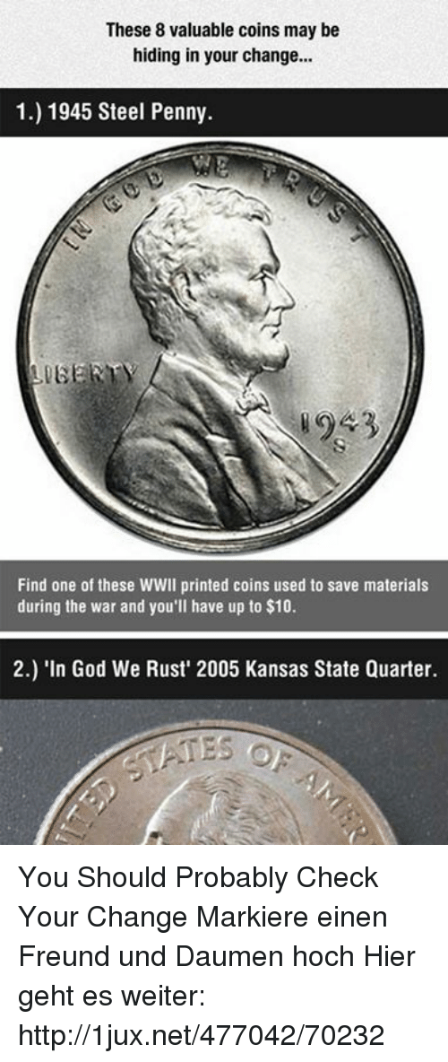 These 8 Valuable Coins May Be Hiding in Your Change 1 1945 Steel