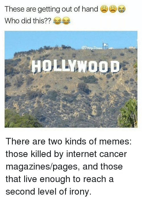 Dank, Irony, and 🤖: These are getting out of hand  Who did this?  HOLLYW There are two kinds of memes: those killed by internet cancer magazines/pages, and those that live enough to reach a second level of irony.