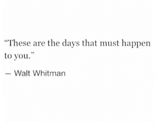 "Walt Whitman, You, and Happen: ""These are the days that must happen  to you""  -Walt Whitman"