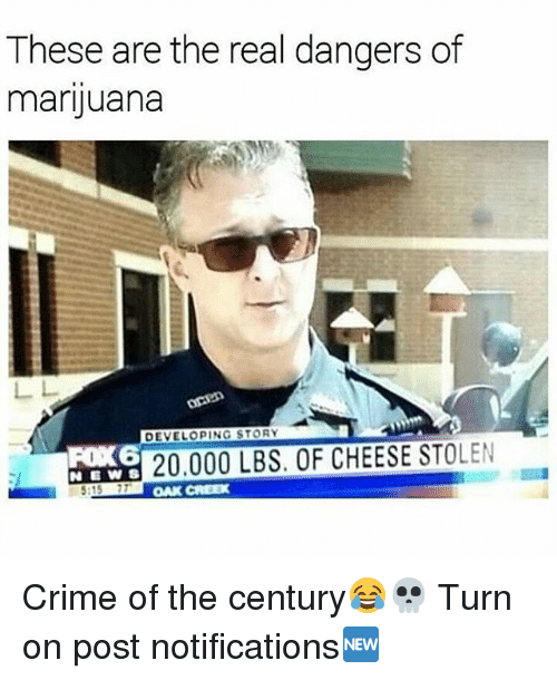 Crime, Memes, and Marijuana: These are the real dangers of  marijuana  DEVELOPING STORY  20.000 LBS. OF CHEESE STOLEN  :15 77  OAK CREEX Crime of the century😂💀 Turn on post notifications🆕