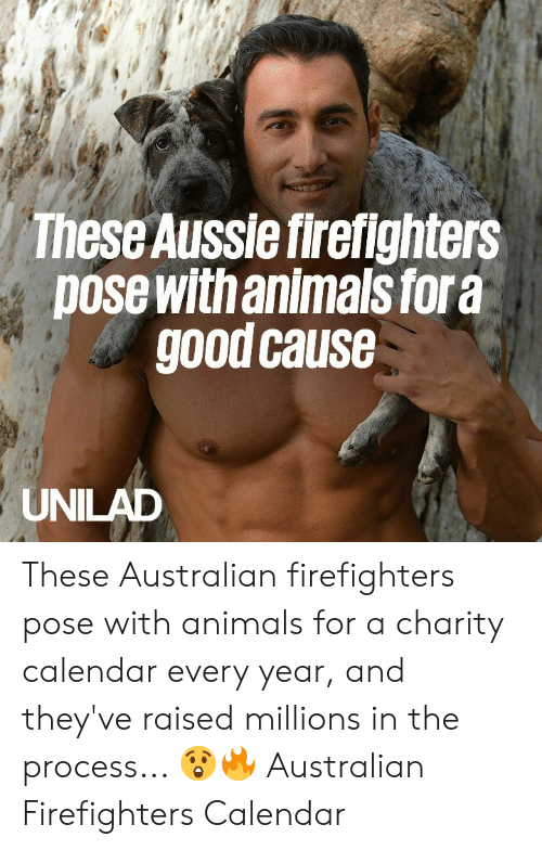Animals, Dank, and Calendar: These Aussie firefighters  pose with animals fora  good cause  UNILAD These Australian firefighters pose with animals for a charity calendar every year, and they've raised millions in the process...  😲🔥  Australian Firefighters Calendar