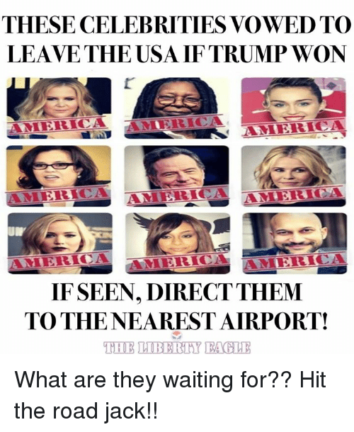 America, Memes, and Trump: THESE CELEBRITIES VOWED TO  LEAVE THE USA IF TRUMP WON  'I 'RİCİ AMERICA  IF SEEN, DIRECTTHEM  TO THENEAREST AIRPORT! What are they waiting for?? Hit the road jack!!