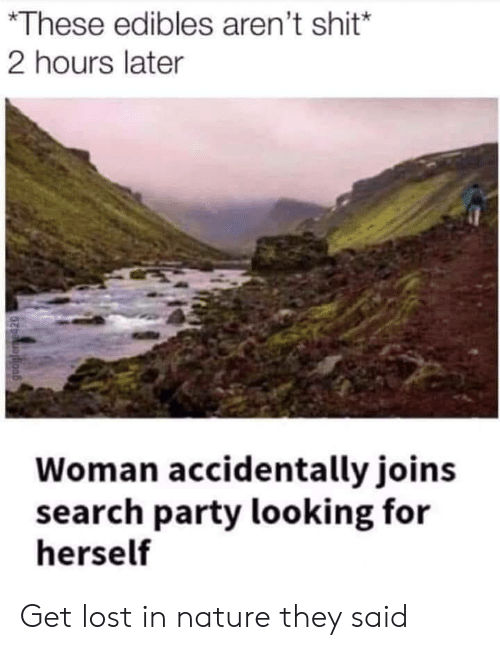 Party, Shit, and Lost: *These edibles aren't shit*  2 hours later  Woman accidentally joins  search party looking for  herself Get lost in nature they said