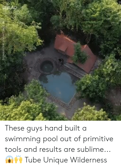 Dank, Sublime, and Pool: These guys hand built a swimming pool out of primitive tools and results are sublime...😱🙌  Tube Unique Wilderness