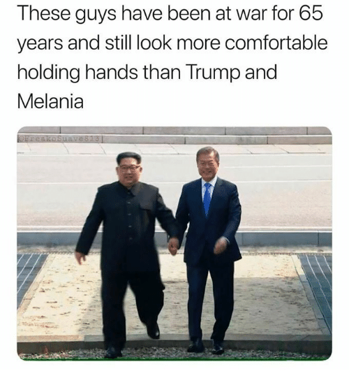 Comfortable, Dank, and Trump: These guys have been at war for 65  years and still look more comfortable  holding hands than Trump and  Melania