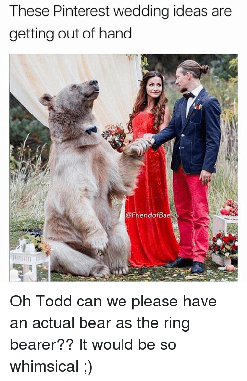 Funny, The Ring, and Pinterest: These Pinterest wedding ideas are  getting out of hand  iendofBa Oh Todd can we please have an actual bear as the ring bearer?? It would be so whimsical ;)