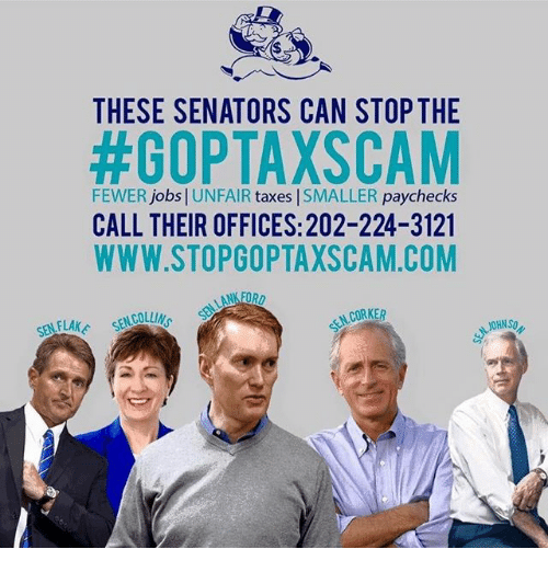 these senators can stop the goptaxscam fewer jobs unfair 29380413 these senators can stop the goptaxscam fewer jobs unfair taxes