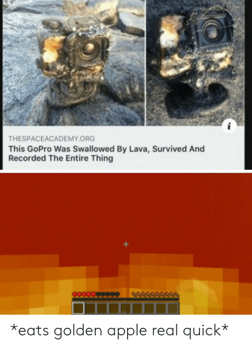 Apple, GoPro, and Lava: THESPACEACADEMY.ORG  This GoPro Was Swallowed By Lava, Survived And  Recorded The Entire Thing *eats golden apple real quick*