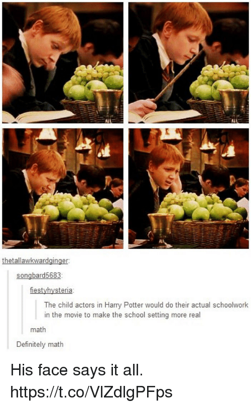Definitely, Harry Potter, and Memes: thetallawkwardginger  songbard5683  fiestyhysteria  The child actors in Harry Potter would do their actual schoolwork  in the movie to make the school setting more real  math  Definitely math His face says it all. https://t.co/VlZdlgPFps