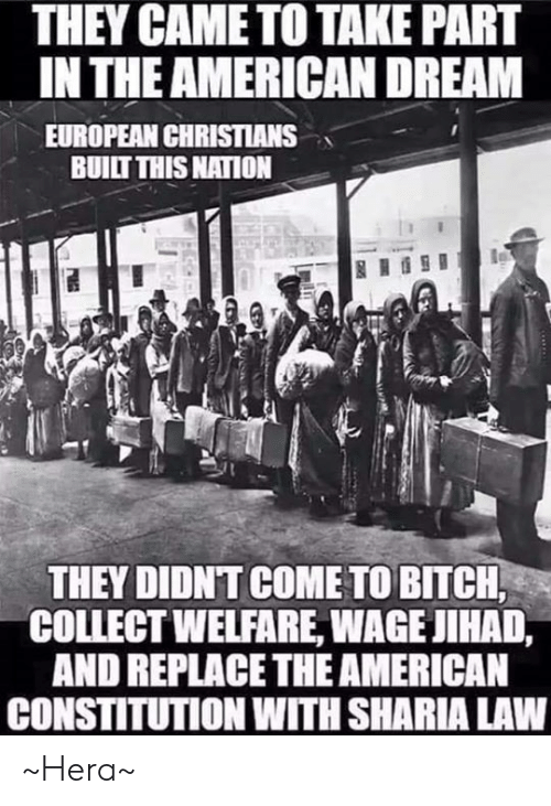 Bitch, Memes, and American: THEY CAME TO TAKE PART  IN THE AMERICAN DREAM  EUROPEAN CHRISTIANS  BUILT THIS NATION  THEY DIDNT COME TO BITCH  COLLECT WELFARE, WAGE JIHAD,  AND REPLACETHE AMERICAN  CONSTITUTION WITH SHARIA LAW ~Hera~