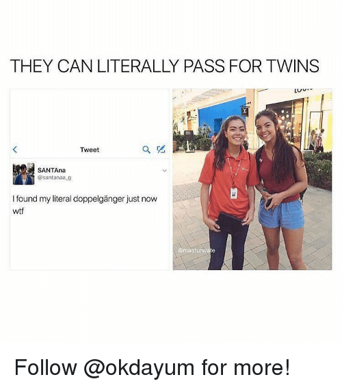 Doppelganger, Twins, and Black Twitter: THEY CAN LITERALLY PASS FOR TWINS  LUU.  Tweet  SANTAna  @santanaa..g  my literal doppelganger just  wtf  masturwate Follow @okdayum for more!