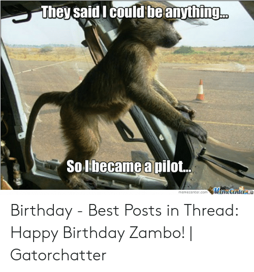 Birthday, Happy Birthday, and Best: They said lI could beanything  Solbecame a pilot.  memecenter.comemeCenterLO Birthday - Best Posts in Thread: Happy Birthday Zambo! | Gatorchatter