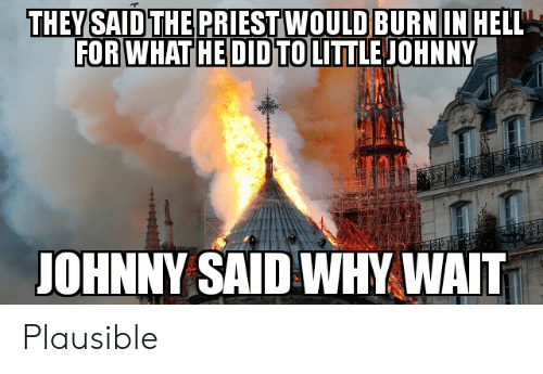 Reddit, Hell, and Why: THEY SAID THE PRIESTWOULD BURNIN HELL  FOR WHAT HE DID TO LITTLE JOHNNY  JOHNNY SAID WHY WAIT Plausible
