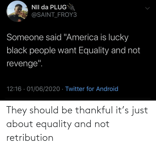 They, Just, and Thankful: They should be thankful it's just about equality and not retribution