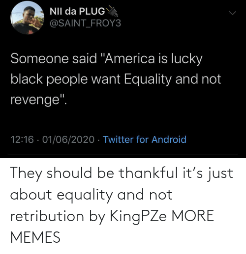 Dank, Memes, and Target: They should be thankful it's just about equality and not retribution by KingPZe MORE MEMES