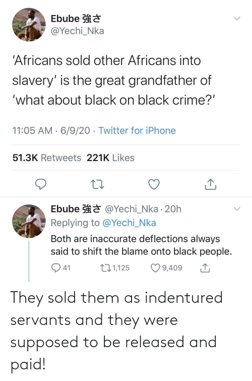 Them, They, and Were: They sold them as indentured servants and they were supposed to be released and paid!