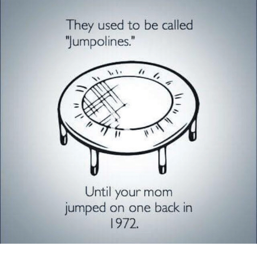 "Memes, Jumped, and Mom: They used to be called  ""Jumpolines.""  Until your mom  jumped on one back in  972."