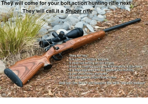they will come for your bolt action hunting rifle next they will