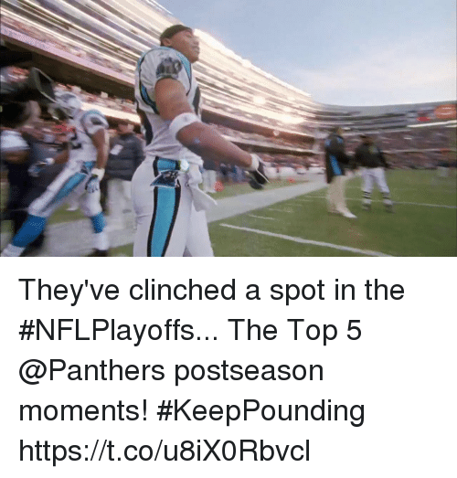 Memes, Panthers, and 🤖: They've clinched a spot in the #NFLPlayoffs...  The Top 5 @Panthers postseason moments! #KeepPounding https://t.co/u8iX0Rbvcl