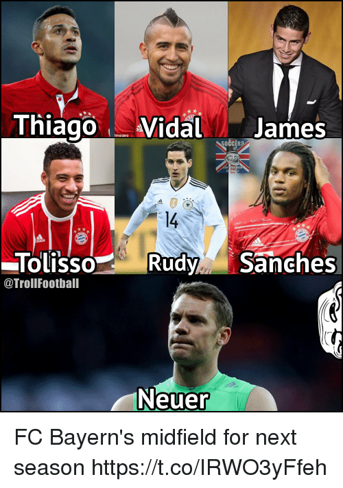 Memes, Soccer, and Mean: Thiago Vidal James  Imaqes  SOCCER?  0U MEAN  1  14  OLISSO  @TrollFootball  TolissoRudySanches  Neuer FC Bayern's midfield for next season https://t.co/IRWO3yFfeh