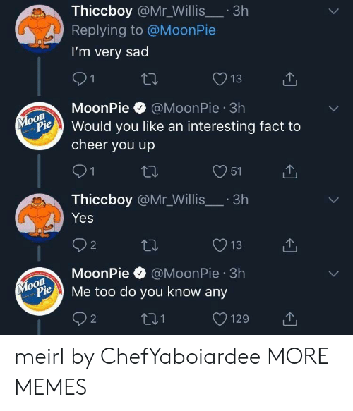 Dank, Memes, and Target: Thiccboy @Mr_Willis.3h  Replying to @MoonPie  I'm very sad  13  MoonPie @MoonPie 3h  on  Pould you like an interesting fact to  cheer you up  O51  Thiccboy @Mr_Willis.3h  Yes  O13  MoonPie @MoonPie 3h  oon  ylopie Me too do you know any meirl by ChefYaboiardee MORE MEMES
