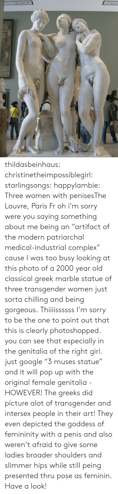 """Complex, Google, and Pop: thildasbeinhaus:  christinetheimpossiblegirl:  starlingsongs:  happylambie:  Three women with penisesThe Louvre, Paris Fr  oh i'm sorry were you saying something about me being an """"artifact of the modern patriarchal medical-industrial complex"""" cause I was too busy looking at this photo of a 2000 year old classical greek marble statue of three transgender women just sorta chilling and being gorgeous.  Thiiiissssss  I'm sorry to be the one to point out that this is clearly photoshopped. you can see that especially in the genitalia of the right girl. just google""""3 muses statue"""" and it will pop up with the original female genitalia - HOWEVER! The greeks did picture alot of transgender and intersex people in their art! They even depicted the goddess of femininity with a penis and also weren't afraid to give some ladies broader shoulders and slimmer hips while still peing presented thru pose as feminin. Have a look!"""