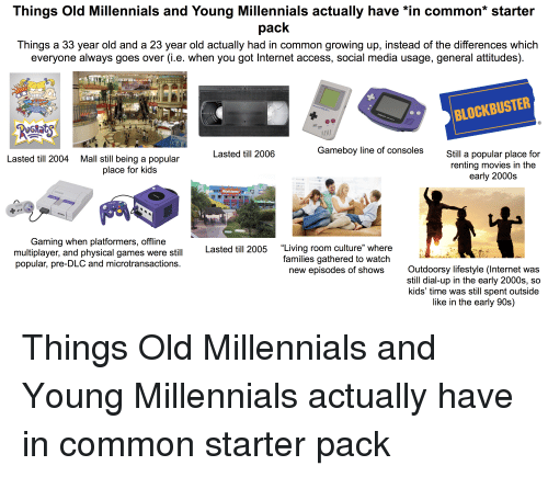 "Blockbuster, Growing Up, and Internet: Things Old Millennials and Young Millennials actually have *in common* starter  pack  Things a 33 year old and a 23 year old actually had in common growing up, instead of the differences which  everyone always goes over (i.e. when you got Internet access, social media usage, general attitudes)  BLOCKBUSTER  Lasted till 2006  Gameboy line of consoles  Still a popular place for  renting movies in the  early 2000s  Lasted till 2004  Mall still being a popular  place for kids  Gaming when platformers, offline  multiplayer, and physical games were still  popular, pre-DLC and microtransactions  35  Lasted till 2005 Living room culture"" where  families gathered to watch  new episodes of shows  Outdoorsy lifestyle (Internet was  still dial-up in the early 2000s, so  kids' time was still spent outside  like in the early 90s)"