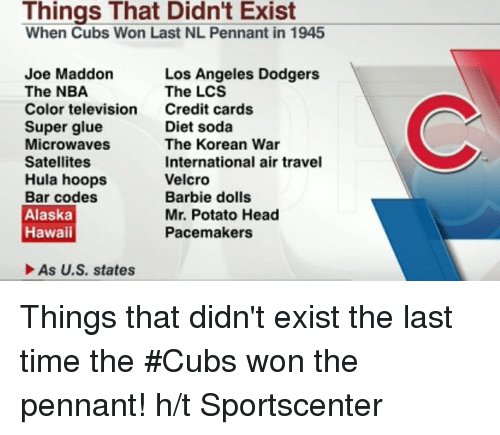 Barbie, Dieting, and Dodgers: Things That Didn't Exist  When Cubs Won Last NL Pennant in 1945  Joe Maddon  Los Angeles Dodgers  The NBA  The LCS  Color television  Credit cards  Diet soda  Super glue  Microwaves  The Korean War  Satellites  International air travel  Hula hoops  Velcro  Bar codes  Barbie dolls  Alaska  Mr. Potato Head  Hawaii  Pacemakers  As U.S. states Things that didn't exist the last time the #Cubs won the pennant!  h/t Sportscenter