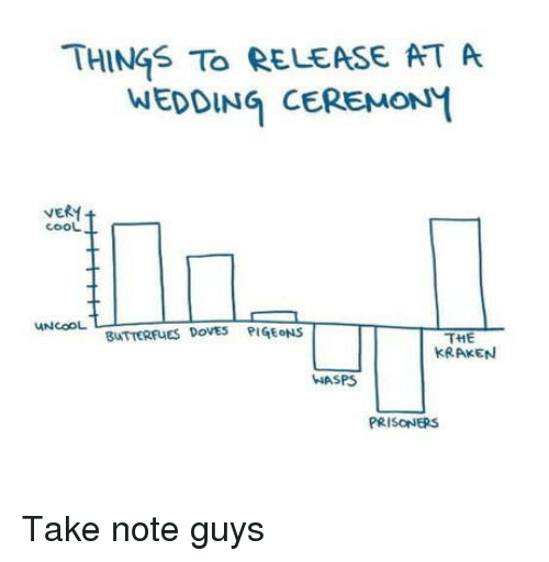 Cool, Wedding, and Prisoners: THINGS To RELEASE AT A  WEDDING CEREMONM  VERM  cooL  THE  KRAKEN  UNCOOL  BUTTERFUES DoVEs PIGEONS  WASPS  PRISONERS Take note guys
