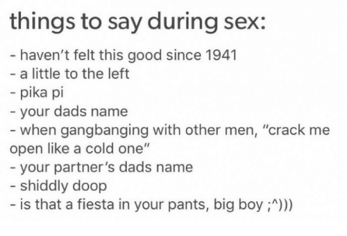 Things to say when your having sex