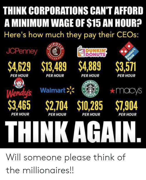Pizza, Walmart, and Wendys: THINK CORPORATIONS CAN'T AFFORD  A MINIMUM WAGE OF $15 AN HOUR?  Here's how much they pay their CEOS:  JCPenney  DUNKING  DONUTS  Domino's  Pizza  $4,629 $13,489 $4,889 $3,571  GRILL  PER HOUR  PER HOUR  PER HOUR  PER HOUR  Wendy's Walmart  $3,465 $2,704 $10,285 $7,904  *macys  OFFE  PER HOUR  PER HOUR  THINK AGAIN.  PER HOUR  PER HOUR  MEXIC Will someone please think of the millionaires!!