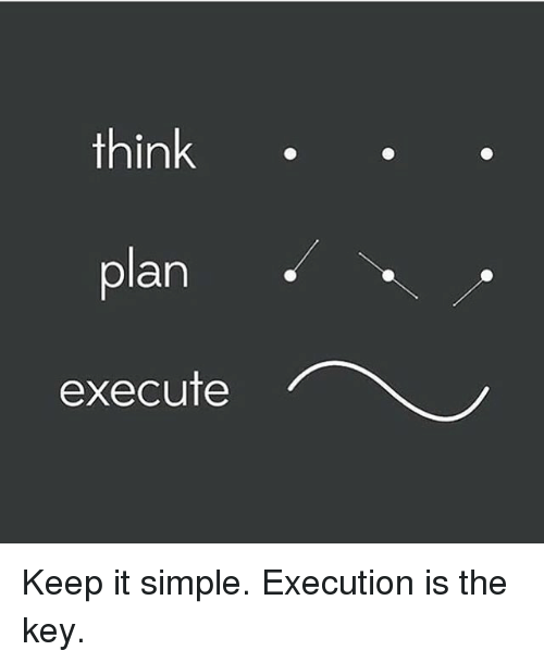 Memes, 🤖, and Simple: think  plan  execute Keep it simple. Execution is the key.