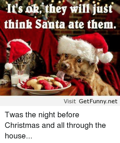 memes twas the night before christmas and think santa ate them - Funny Twas The Night Before Christmas