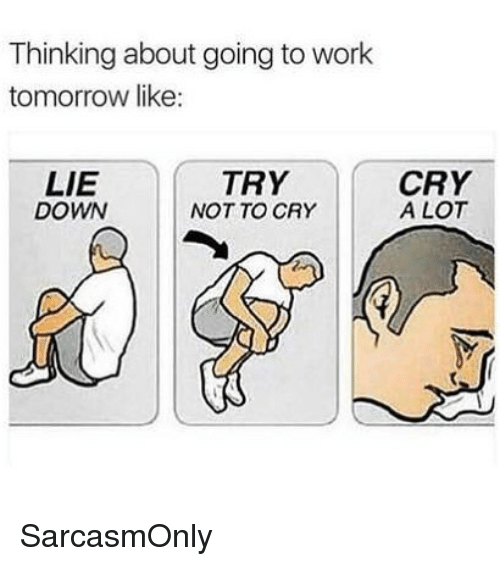 Funny, Memes, and Work: Thinking about going to work  tomorrow like:  LIE  DOWN  TRY  NOT TO CRY  CRY  A LOT SarcasmOnly