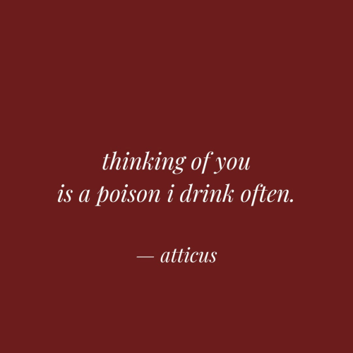 Poison, You, and Atticus: thinking of you  is a poison i drink often.  atticus