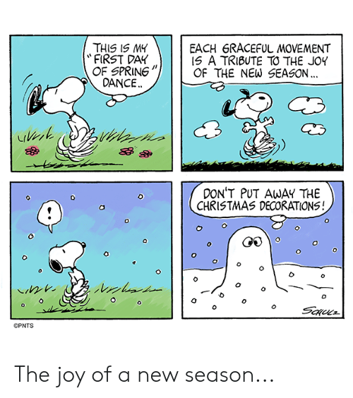 "Christmas, Memes, and Spring: THIS 1S MY  ""FIRST DAY  OF SPRING""  EACH 6RACEFUL MOVEMENT  IS A TRIBUTE TO THE JOY  OF THE NEW SEASON...  DANCE..  余︶  器 か  DON'T PUT AWAY THE  CHRISTMAS DECORATIONS!  o ( G  ©PNTS The joy of a new season..."