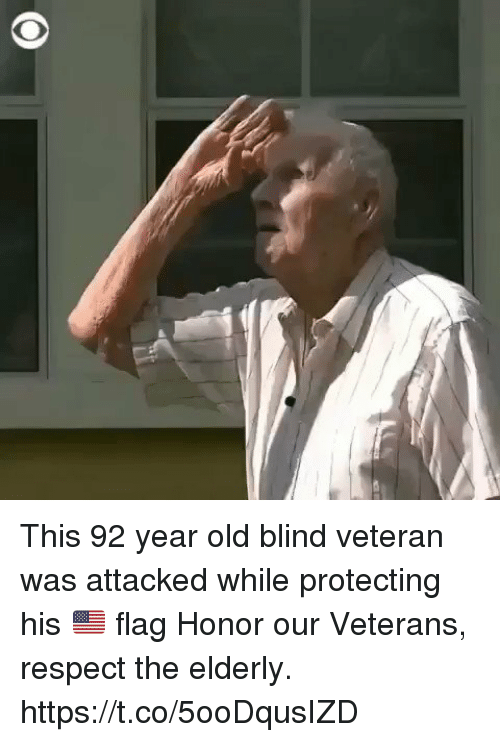 Memes, Respect, and Old: This 92 year old blind veteran was attacked while protecting his 🇺🇸 flag Honor our Veterans, respect the elderly. https://t.co/5ooDqusIZD
