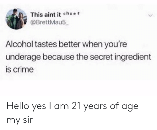 Crime, Hello, and Alcohol: This aint it che f  @BrettMau5  Alcohol tastes better when you're  underage because the secret ingredient  is crime Hello yes I am 21 years of age my sir