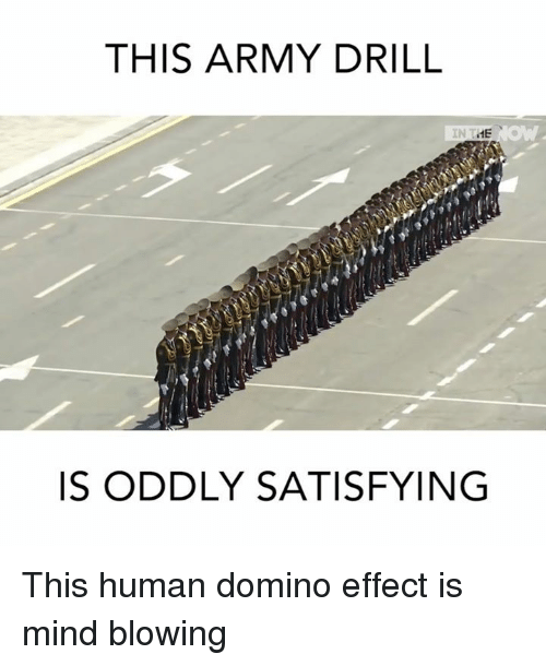 Memes, Domino's, and Dominoes: THIS ARMY DRILL  ME  IS ODDLY SATISFYING This human domino effect is mind blowing