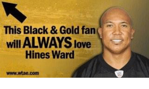 Love, Memes, and Black: This Black & Gold fan  will ALWAYS love  Hines Ward  www.wtae.com