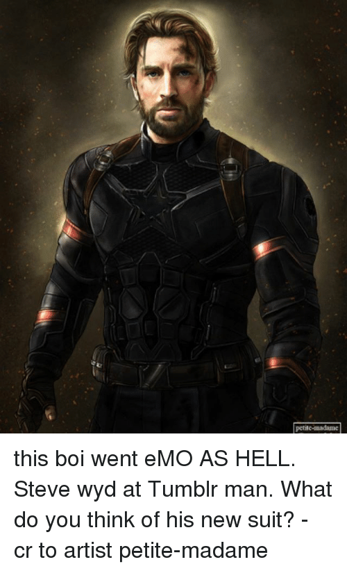 Emo, Memes, and Tumblr: this boi went eMO AS HELL. Steve wyd at Tumblr man. What do you think of his new suit? - cr to artist petite-madame