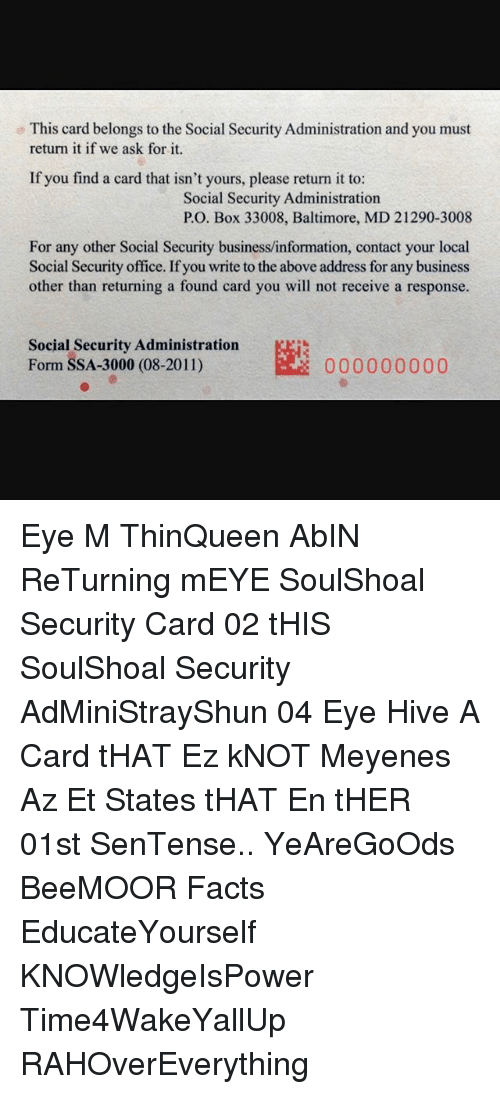 Facts, Memes, And Baltimore: This Card Belongs To The Social Security  Administration And