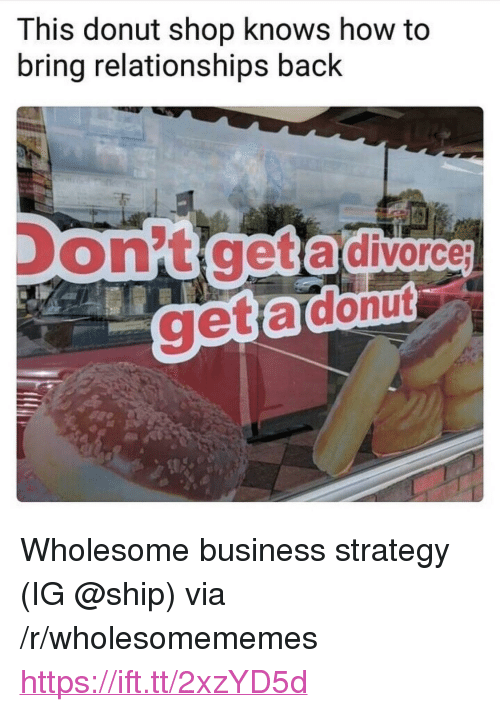 """Relationships, Business, and How To: This donut shop knows how to  bring relationships back  on't get a divorce <p>Wholesome business strategy (IG @ship) via /r/wholesomememes <a href=""""https://ift.tt/2xzYD5d"""">https://ift.tt/2xzYD5d</a></p>"""