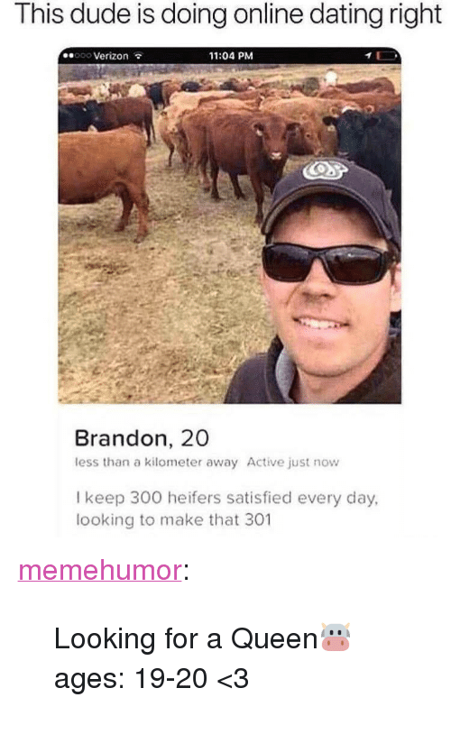 "Dating, Dude, and Online Dating: This dude is doing online dating right  ooo Verizon  11:04 PM  Brandon, 20  less than a kilometer away Active just now  l keep 300 heifers satisfied every day,  looking to make that 301 <p><a href=""http://memehumor.net/post/173445158809/looking-for-a-queen-ages-19-20-3"" class=""tumblr_blog"">memehumor</a>:</p>  <blockquote><p>Looking for a Queen🐮 ages: 19-20 <3</p></blockquote>"