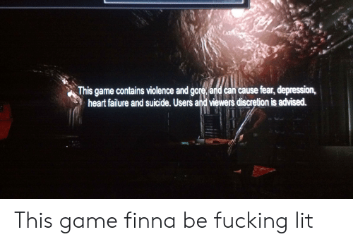 Fucking, Lit, and Depression: This game contains violence and gore, and can cause fear, depression,  heart failure and suicide. Users and viewers discretion is advised. This game finna be fucking lit