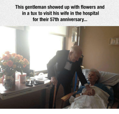 Flowers, Hospital, and Wife: This gentleman showed up with flowers and in a