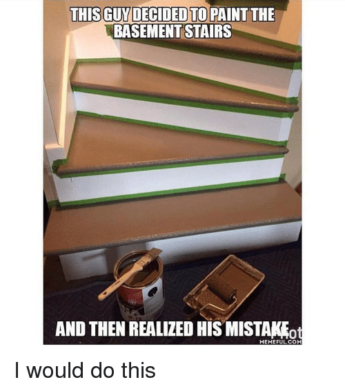Memes, 🤖, And Painting: THIS GUY DECIDED TO PAINT THE BASEMENT STAIRS AND