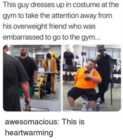 Gym, Tumblr, and Blog: This guy dresses up in costume at the  gym to take the attention away from  his overweight friend who was  embarrassed to go to the gym... awesomacious:  This is heartwarming